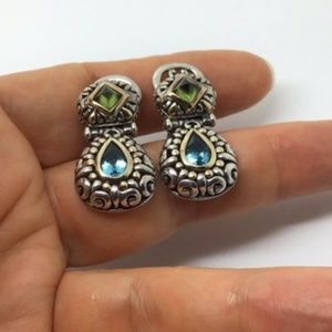 John Hardy green peridot blue topaz earrings
